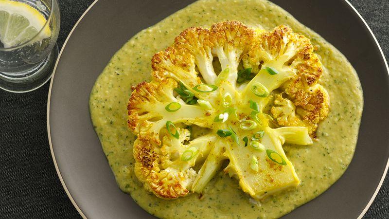 Gluten-Free Roasted Cauliflower Steaks with Curried Bean Puree