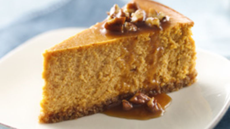 Pumpkin Cheesecake with Praline Sauce