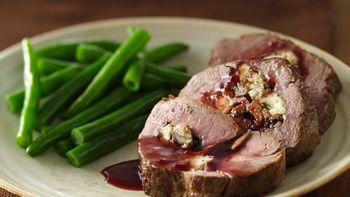 Gorgonzola- and Mushroom-Stuffed Beef Tenderloin with Merlot Sauce