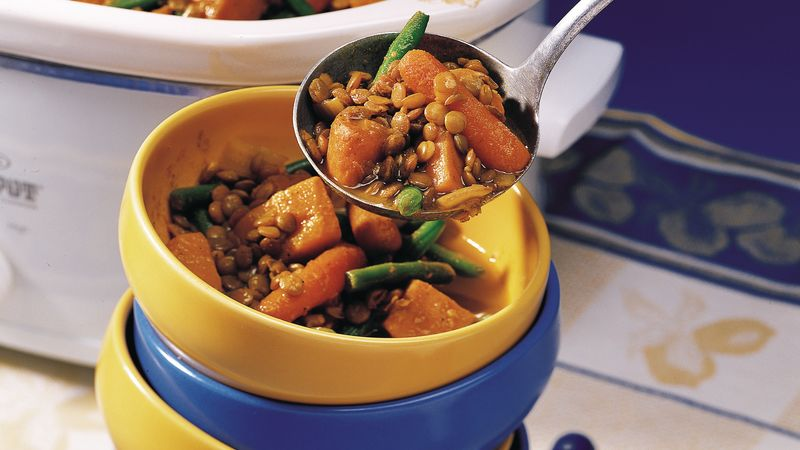 Slow-Cooker Curried Sweet Potato and Lentil Stew