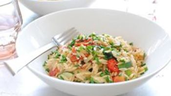 Orzo with Gruyere and Garden Vegetables