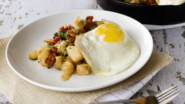 Potato and Bacon Hash with Fried Eggs