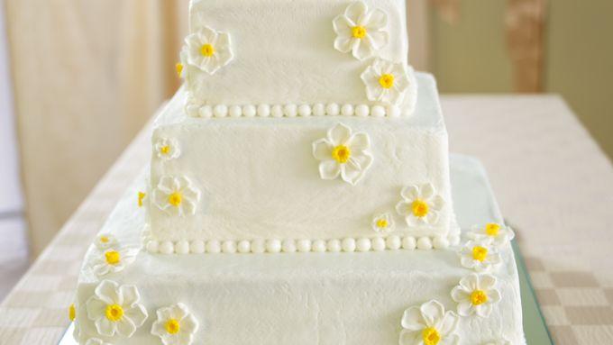 White Wedding Cake with Raspberry Filling