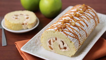 Apple Roll Cake with Caramel Frosting