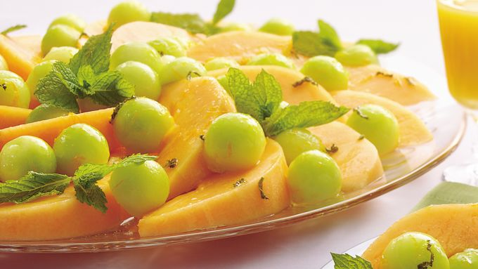 Melon Salad with Orange-Mint Syrup