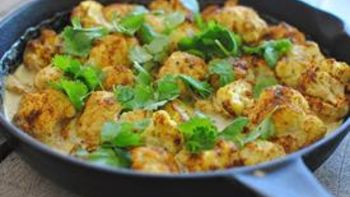 Creamy Curried Baked Cauliflower