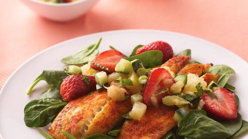 Tilapia Salad with Strawberry-Pineapple Salsa