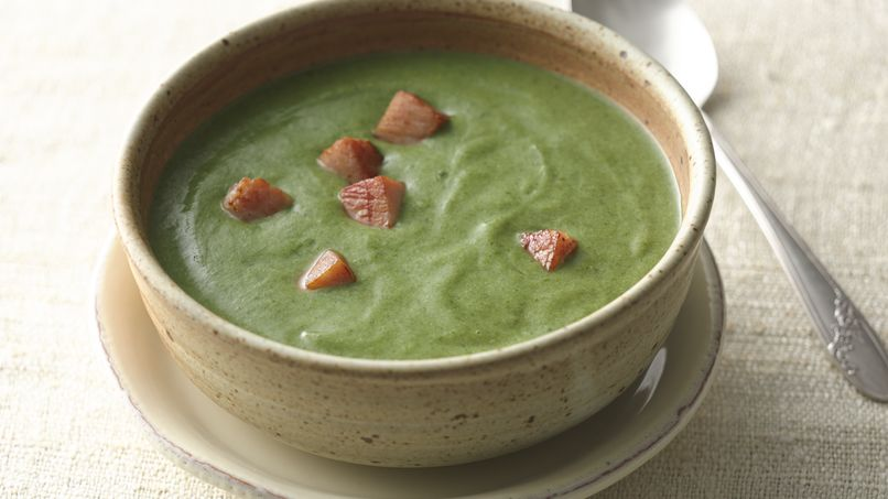 Spinach-Potato Soup with Meat Croutons