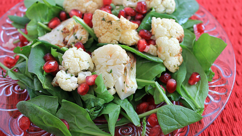 Roasted Cauliflower and Pomegranate Spinach Salad