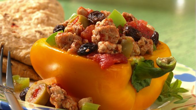 Chicken Picadillo-Stuffed Peppers
