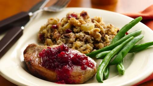 Slow Cooker Pork Chops With Cranberry Cornbread Stuffing