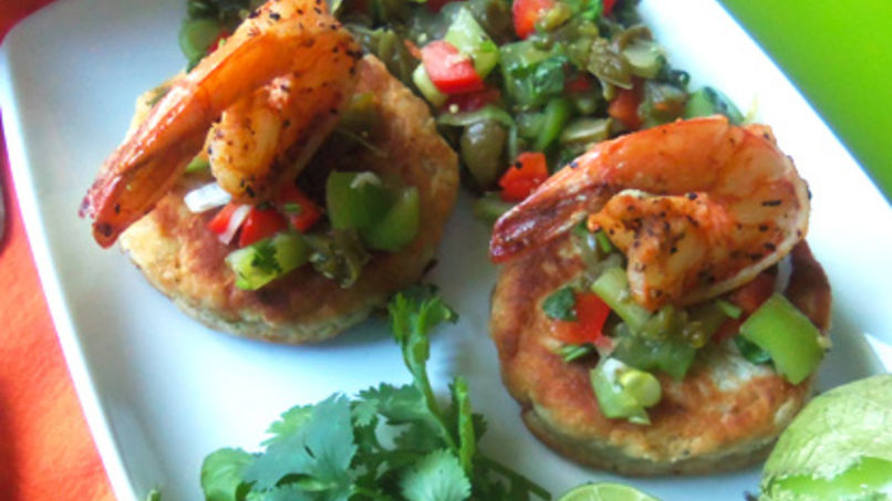Shrimp and Potato Cakes Topped with Cactus Salsa