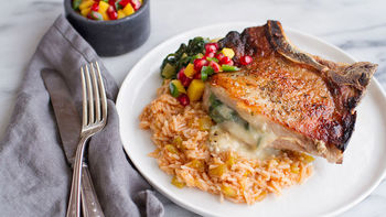 Spicy Cheese-Stuffed Pork Chops with Rice