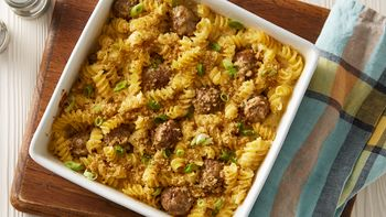 Macaroni and Cheese Casserole with Meatballs