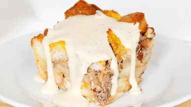 Bourbon Pumpkin Bread Pudding with Bourbon Sauce