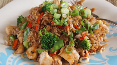 Chaufa Rice with Chicken and Broccoli
