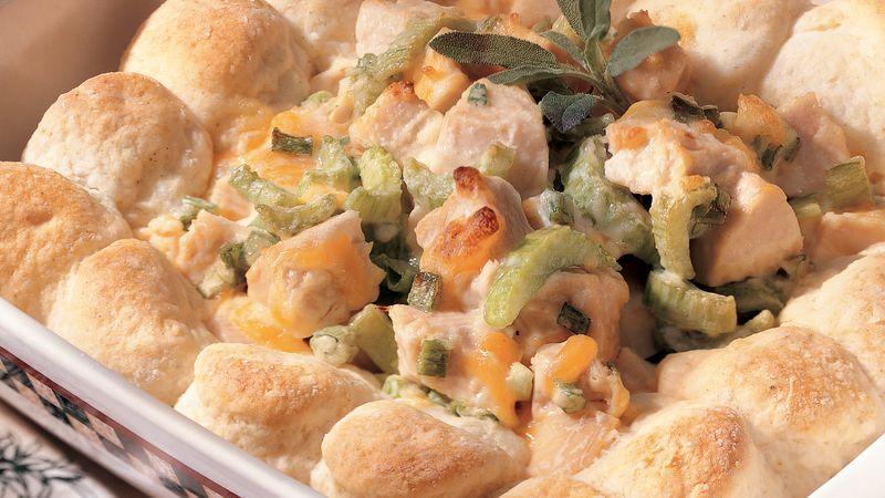 Hot Turkey Salad with Sage Biscuits