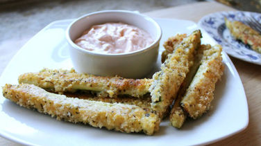 Baked Zucchini Fries with Yogurt and Oregano Dip