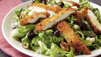 Crispy Chicken Salad with Dried Cranberries and Blue Cheese