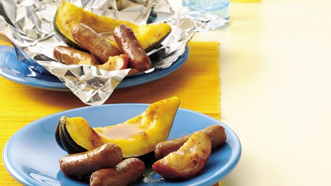 Maple Squash Wedges and Pork Links
