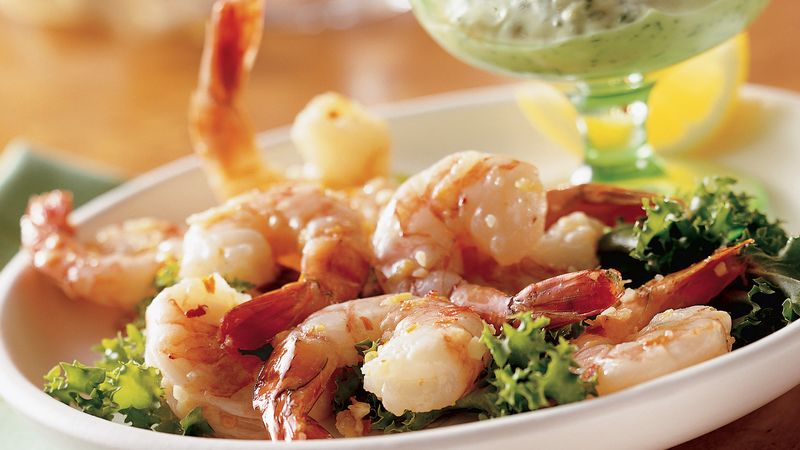 Spicy Lemon Shrimp with Basil Mayonnaise