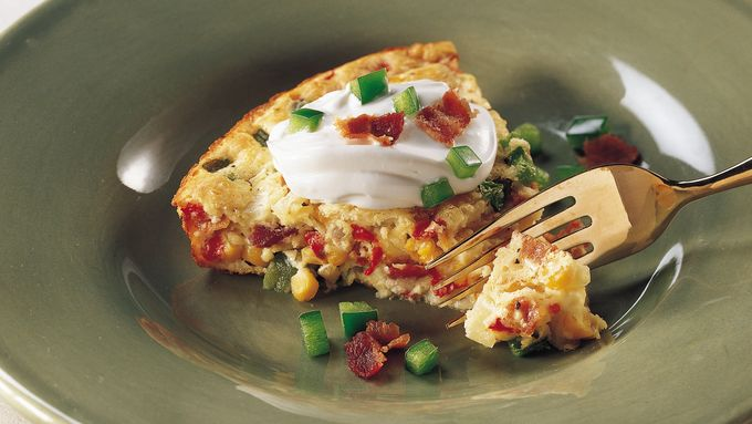 Impossibly Easy Calico Corn and Bacon Pie recipe - from Tablespoon!