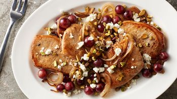 Pork Chops with Grapes and Pistachio Nuts
