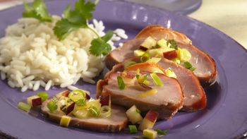 Apple-Smoked Pork with Pear Salsa