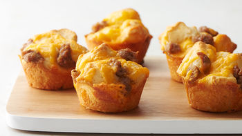 3-Ingredient Cheesy Sausage Biscuit Cups