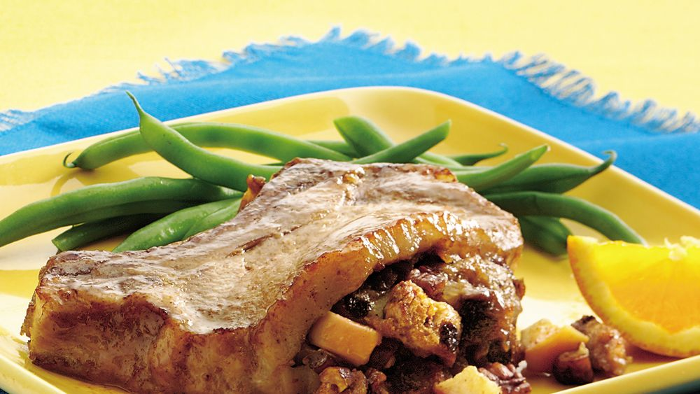 Apple-Glazed Stuffed Pork Chops