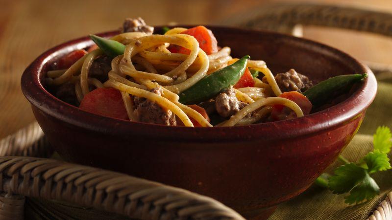 Thai Peanut Noodle and Beef Skillet