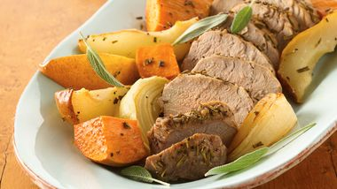 Gluten-Free Roasted Pork Tenderloins with Sweet Potatoes and Pears