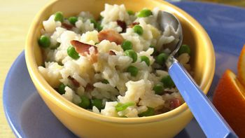 Parmesan Rice and Peas with Bacon