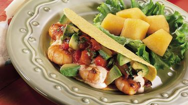 Fiesta Shrimp Tacos with Cucumber Salsa