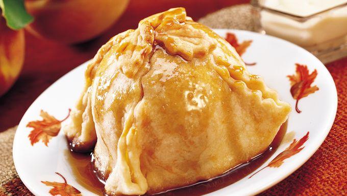 Peach Dumplings with Brandy Cream