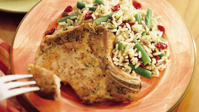 Pork Chops with Rice and Cranberries