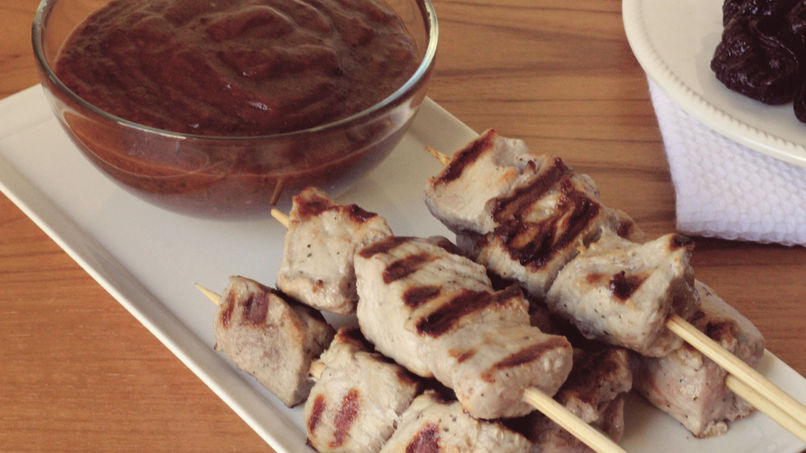 Pork Skewers with Prune Sauce
