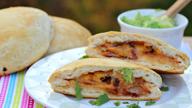 Refried Beans, Bacon and Cheese Sandwich