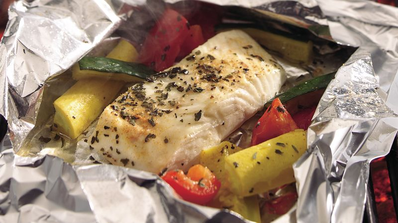 Grilled lemon pepper halibut and squash foil packs recipe for Grill fish in foil