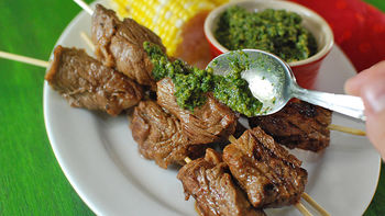 Grilled Hazelnut Pesto Steak Kabobs