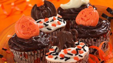 Brownie-Banana Halloween Cupcakes