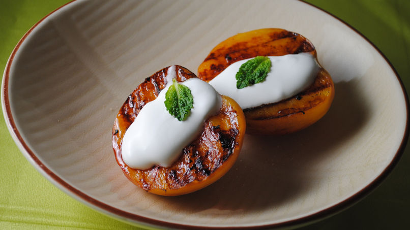 Grilled Peaches with Mint Whipped Cream