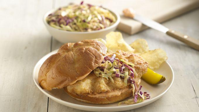 Buttermilk Fried Chicken Sandwiches with Spicy Slaw