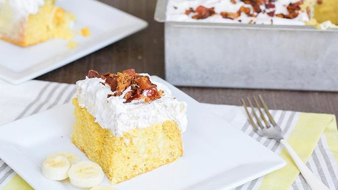 Elvis Poke Cake: PB Banana and Bacon