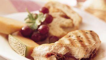 Grilled Cheesy Ham-Stuffed Chicken