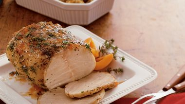 Slow-Cooker Apricot-Glazed Pork Roast and Stuffing