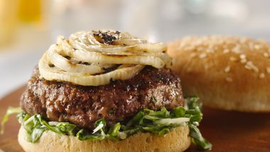Grilled Onion-Topped Caesar Burgers