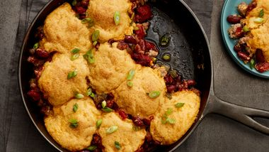 Sausage and Red Bean Skillet with Cornbread Biscuits