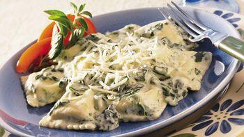 Ravioli in Spinach Alfredo Sauce