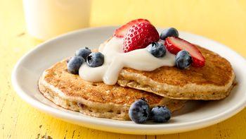 Blueberry Muesli Buttermilk Pancakes
